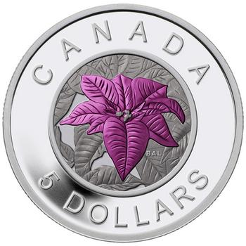 SALE - 2014 $5 FINE SILVER COIN - FLOWERS IN CANADA - NIOBIUM POINSETTIA