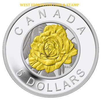 SALE - 2014 $5 FINE SILVER COIN - FLOWERS IN CANADA - NIOBIUM ROSE