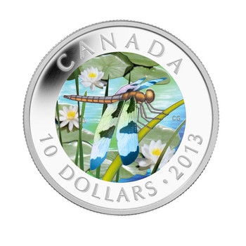 SALE - 2013 $10 FINE SILVER COIN TWELVE-SPOTTED SKIMMER DRAGONFLY