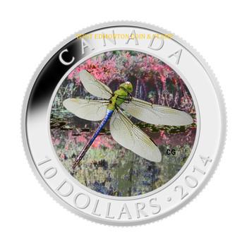SALE - 2014 $10 FINE SILVER COIN - DRAGONFLY - GREEN DARNER