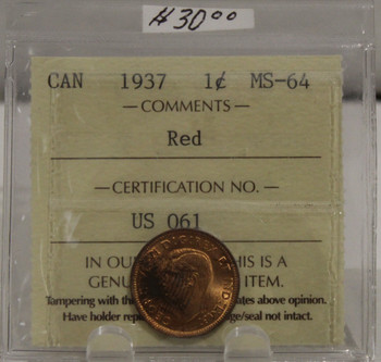 1937 CIRCULATION ONE-CENT COIN - RED - MS-64