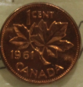 1961 CIRCULATION 1-CENT COIN - RED - MS-65