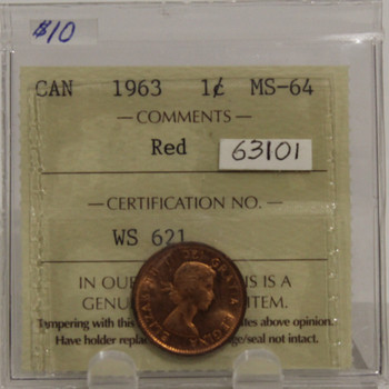 1963 CIRCULATION 1-CENT COIN - RED - MS-64
