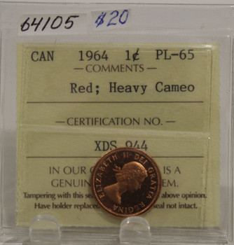 1964 CIRCULATION 1-CENT COIN - RED, HEAVY CAMEO - PL-65