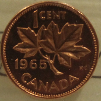 1965 CIRCULATION 1-CENT COIN - RED, LARGE BEADS, BLUNT 5 - PL-65