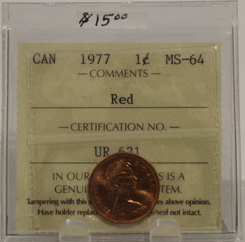 1977 CIRCULATION ONE-CENT COIN - RED - MS-64