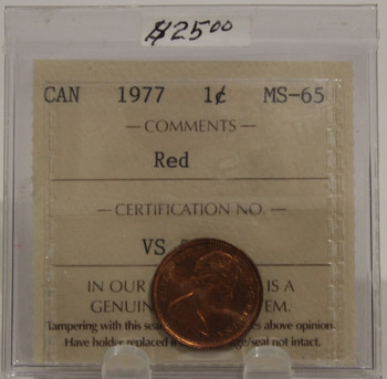 1977 CIRCULATION ONE-CENT COIN - RED - MS-65