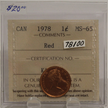 1978 CIRCULATION ONE-CENT COIN - RED - MS-65
