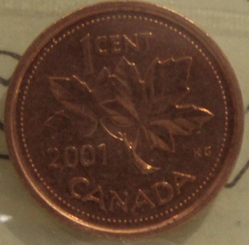 2001 CIRCULATION ONE-CENT COIN - RED - MS-65