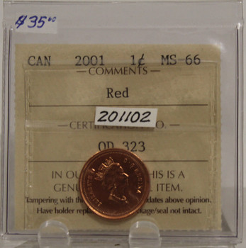 2001 CIRCULATION ONE-CENT COIN - RED - MS-66