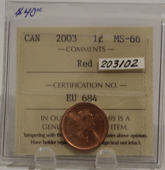 2003 CIRCULATION ONE-CENT COIN - RED - MS-66