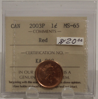 2003P CIRCULATION ONE-CENT COIN - RED - MS-65