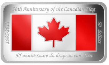 SALE - 2015 $50 FINE SILVER COIN 50TH ANNIVERSARY OF THE CANADIAN FLAG
