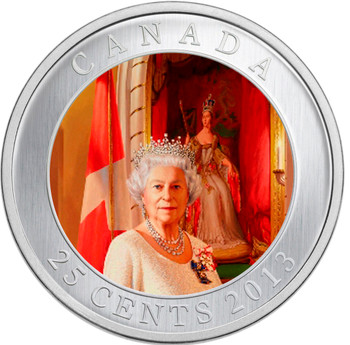 SALE - 2013 25-CENT COLOURED PORTRAIT- HER MAJESTY QUEEN ELIZABETH II CORONATION