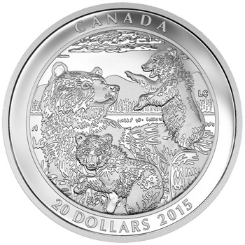 2016 $20 FINE SILVER COIN GRIZZLY BEAR: FAMILY