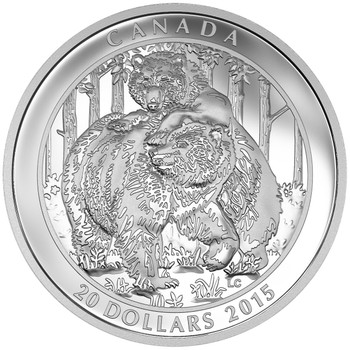 SALE - 2015 $20 FINE SILVER COIN GRIZZLY BEAR: TOGETHERNESS