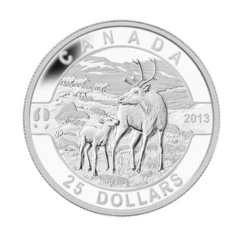 SALE - 2013 $25 FINE SILVER COIN O CANADA SERIES - THE CARIBOU