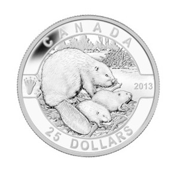 SALE -  2013 $25 FINE SILVER COIN - O CANADA SERIES - THE BEAVER