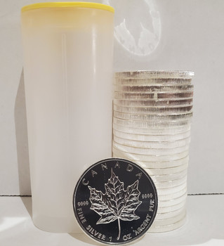 TUBE OF 25 - 1OZ. CANADIAN MAPLE LEAF SILVER COIN - (RANDOM DATE) (BRAND NEW)