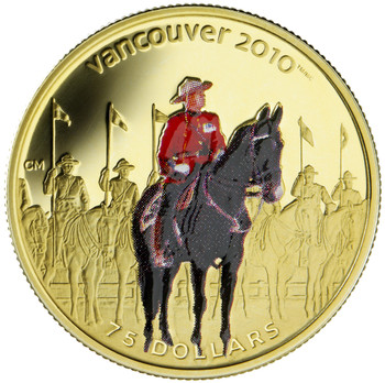 2007 $75 GOLD COLOURED COIN - ROYAL CANADIAN MOUNTED POLICE (.225oz. GOLD)