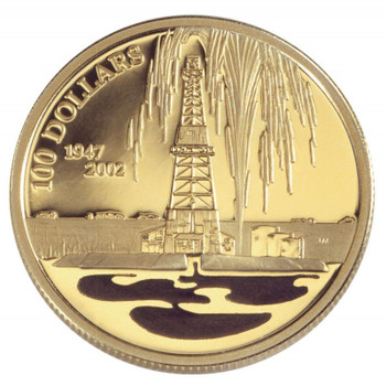 2002 $100 14K GOLD COIN CANADA'S OIL INDUSTRY (COLOURIZED)(.250oz. GOLD)