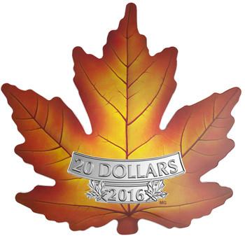 SALE - 2016 $20 FINE SILVER COIN CANADA'S COLOURFUL MAPLE LEAF