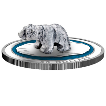 SALE - 2018 $50 FINE SILVER COIN POLAR BEAR SOAPSTONE SCULPTURE