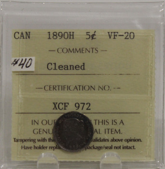 1890H CIRCULATION 5-CENT SILVER COIN - CLEANED - VF-20