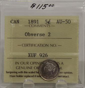 1891 CIRCULATION 5-CENT SILVER COIN - OBVERSE 2 - AU-50