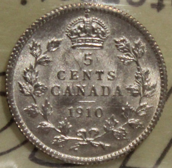 1910 CIRCULATION 5-CENT SILVER COIN - POINTED LEAVES - AU-50