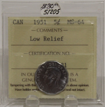1951 CIRCULATION 5-CENT COIN - LOW RELIEF - MS 64