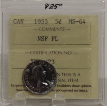 1953 CIRCULATION 5-CENT COIN - NSF FL - MS-64