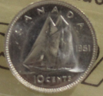 1951 CIRCULATION 10-CENT COIN - MS64