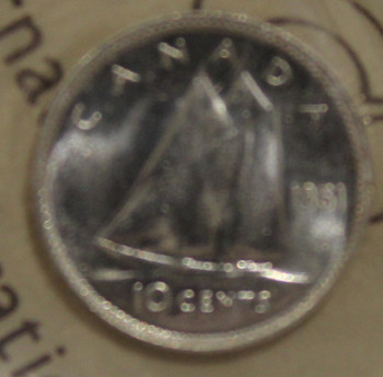 1951 CIRCULATION 10-CENT COIN - MS63