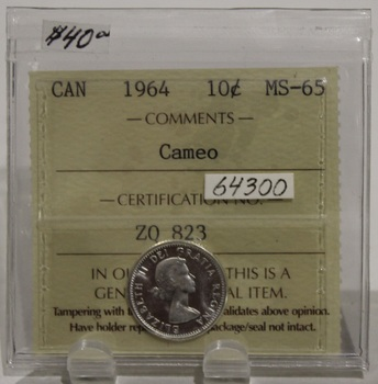 1964 CIRCULATION 10-CENT COIN - CAMEO - MS65