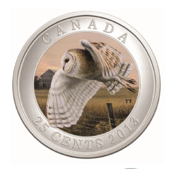 SALE - 2013 25-CENT COLOURED COIN - BARN OWL