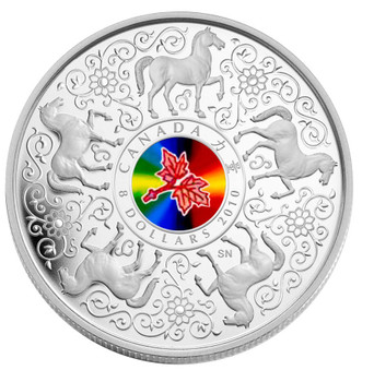 SALE - 2010 $8 STERLING SILVER COIN - MAPLE OF STRENGTH - HOLOGRAM HORSE CHINESE ZODIAC