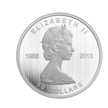 SALE - 2013 $50 FINE SILVER COIN - 25TH ANNIVERSARY OF THE SILVER MAPLE LEAF