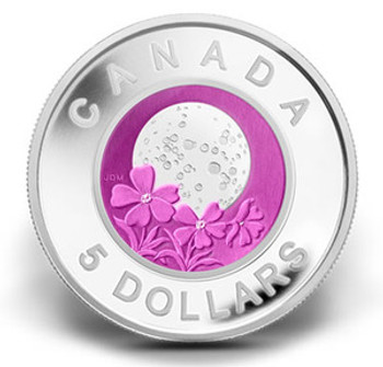 SALE - 2012 $5 STERLING SILVER AND NIOBIUM COIN - FULL PINK MOON (APRIL)