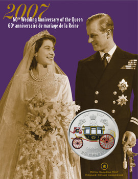 SALE - 2007 25 CENT COIN - THE QUEEN'S 60TH WEDDING ANNIVERSARY