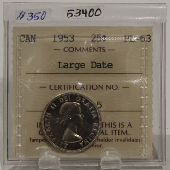 1953 CIRCULATION 25-CENT COIN - LARGE DATE - PL63