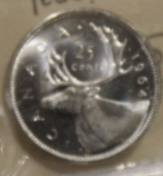 1964 CIRCULATION 25 CENT COIN - HEAVY CAMEO - MS64