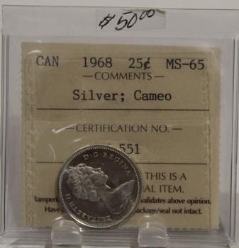 1968 CIRCULATION 25-CENT COIN - SILVER - CAMEO - MS65