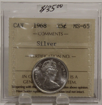 1968 CIRCULATION 25-CENT COIN - SILVER - MS65
