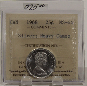 1968 CIRCULATION 25-CENT COIN - SILVER, HEAVY CAMEO - MS64