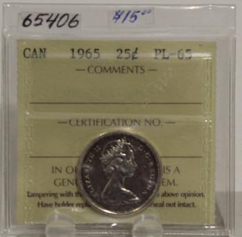 1965 CIRCULATION 25 CENT COIN - PL-65