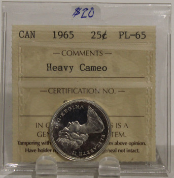 1965 CIRCULATION 25 CENT COIN - HEAVY CAMEO - PL-65