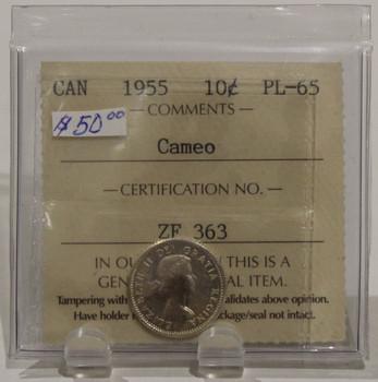 1955 CIRCULATION 10 CENT COIN - CAMEO - PL65