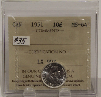 1951 CIRCULATION 10 CENT COIN - MS64