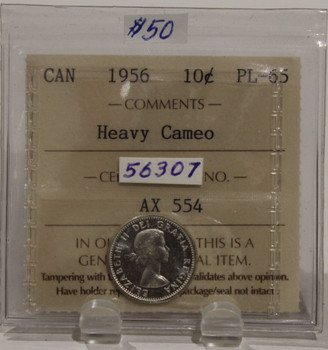 1956 CIRCULATION 10 CENT COIN - HEAVY CAMEO - PL65